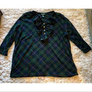 Ralph Lauren Shirt Navy Blue Green Plaid Ruffle 2X